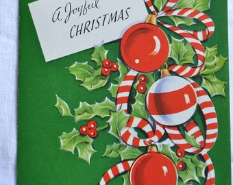 Vintage Christmas Card  -  Ornaments and Candy Cane Stripes