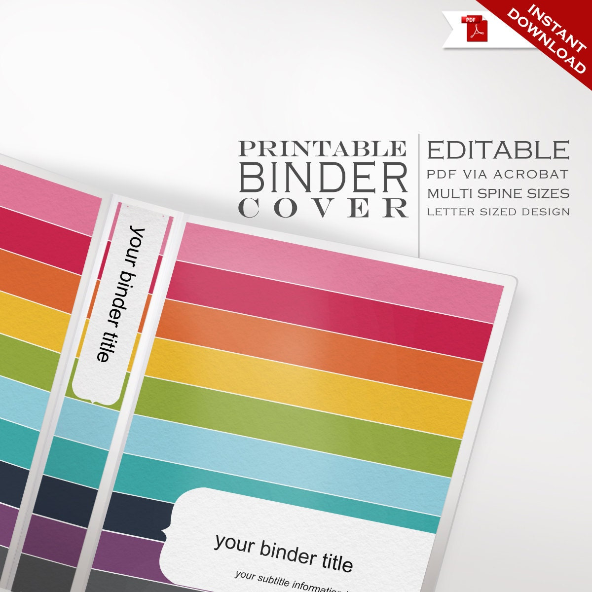 Binder Cover Printable Editable Rainbow Stripes Theme
