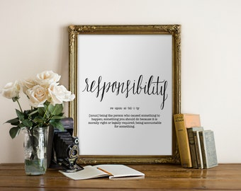Responsibility Dictionary Definition Art Print - Donation, Charity, Giving Print // Peachpod Paperie