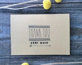 Thank You Very Much 10 Pack of Thank You Cards, Rustic Thank You Card Set, Wedding Thank You Cards