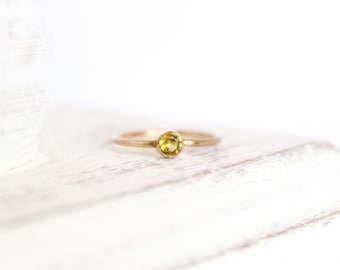 Topaz Ring - November Birthstone Ring - 14k Gold Fill or Sterling Silver - Simple Stacking Ring - Topaz Jewelry - Yellow Ring Gemstone Ring