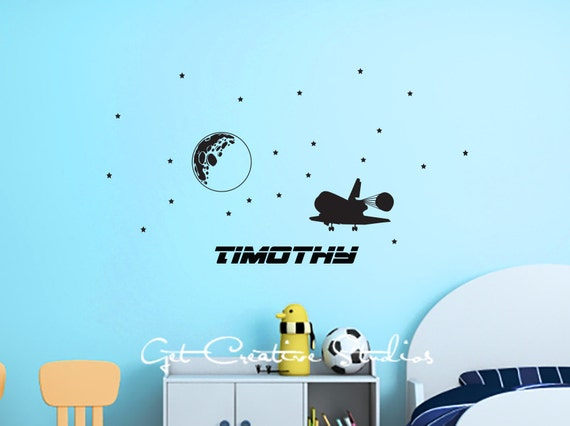 Space Decal Shuttle Wall Decal Ship Galaxy by ...