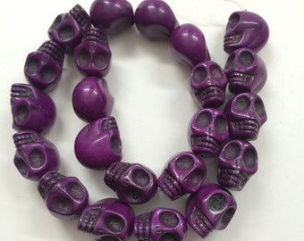 Purple Howlite - skull beads- 18mm - 22 beads - Full Strand