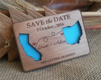 State Love Wood Save The Date Magnets Destination Wooden Magnet Eco Friendly