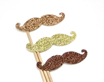 3 GLITTER Mustache Photo Booth Props Natural Shades