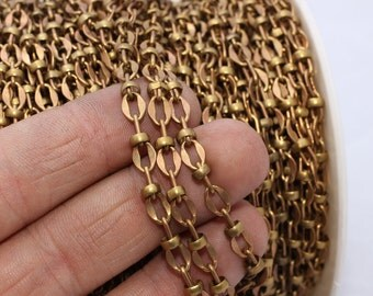 6,6 Feet Raw Brass Bar Chain (5x7mm) Satellite Chains - Soldered Chains - Brass Chains - Rolo Chains - Brass - KJ21