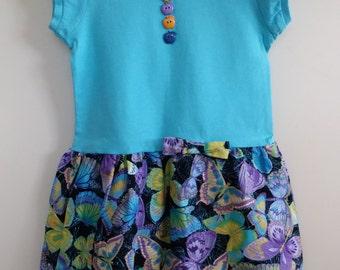 Butterfly Blue Tshirt dress Size 1