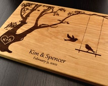 Personalized Cutting Board, Custom Wedding Gift, Housewarming Gift, Anniversary Gift, Engraved Wood Chopping Block, Hostess Gift, Tree Birds