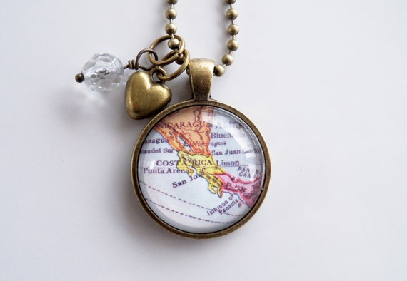 items similar to map of costa rica necklace map pendant
