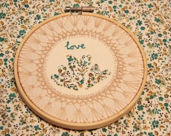 Love Heart Embroidery Hoop With Lace