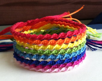 Spiral Friendship Bracelet - Solid ColorRainbow Embroidery Floss Bracelet