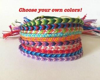 Custom Fishtail Friendship Bracelet- Choose your own colors embroidery floss