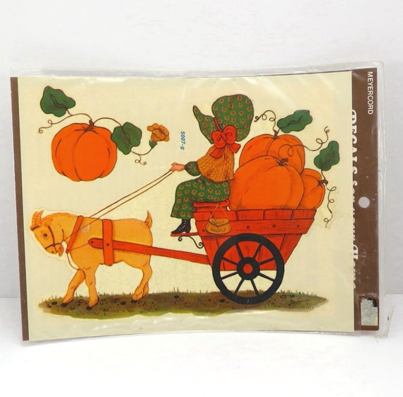 Holly hobbie pumpkin cart meyercord retro 1970s decals nos for Telephone mural 1970