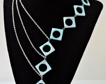 18 inch teal diamond shaped asymmetrical statement necklace