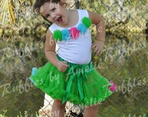 ON SALE! Girls Green, Fuchsia, Blue Pettiskirt & Top SET, Baby Green, Hot Pink and Blue Bithday Outifit, Ready to be shipped!