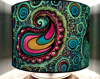 Turtle & Paisley Spiral Design, Hand Silk Painted Lamp Shade, 30cm Diameter Drum, Made To Order.