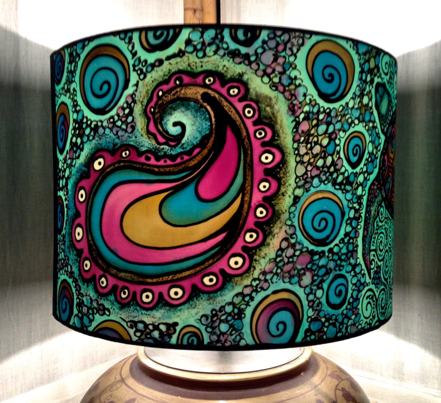 Hand Painted Lamp Shades: Turtle & Paisley Spiral Design Hand Silk Painted Lamp Shade