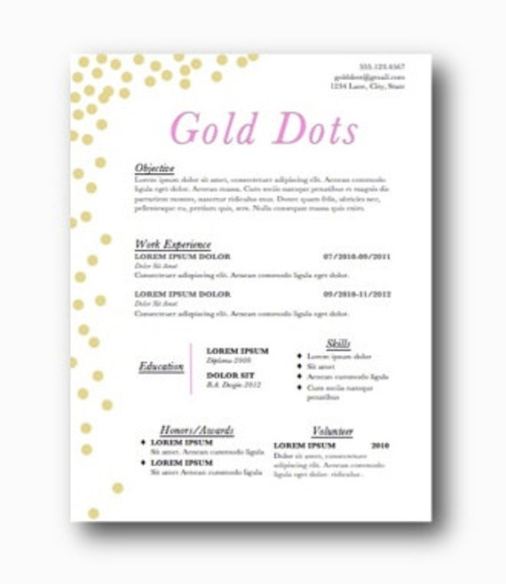 resume and cover lettergold dotsinstant by classywomanboutique