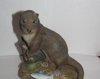 Vintage J Byron Porcelain Otter Figurine - Knick Knacks - Otter with Fish