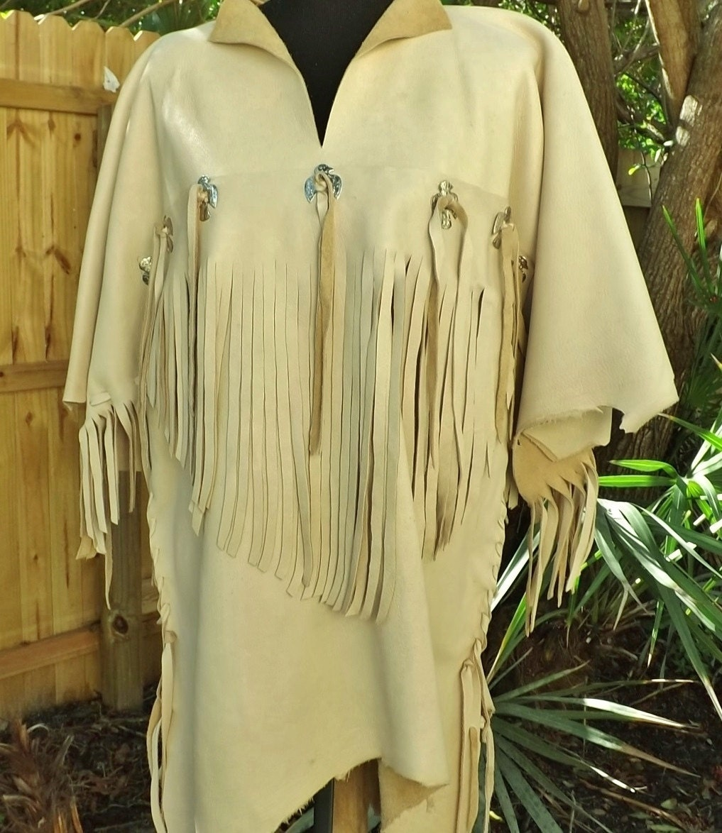 Buckskin leather shirt jacket mens native by spottedeagleart for Mens shirt with tassels