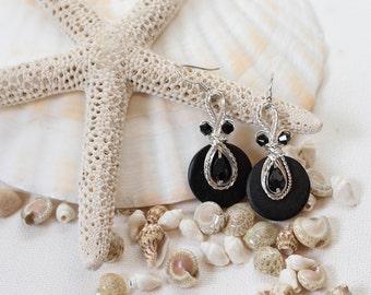Black Dangle Earrings, Fancy Earrings, Black Earrings, Wire Wrapped Jewelry, Black and Silver, Wirework, Crystal Earrings, Dressy Earrings