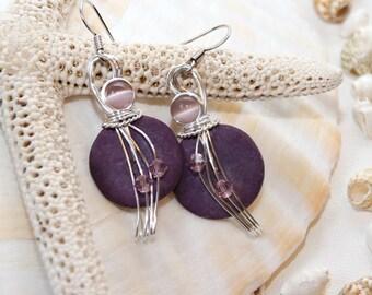 Lavender Earrings, Light Purple Earrings, Swarovski Crystal Jewelry, Pastel Jewelry, Cats Eye Beads, Lightweight Earrings, Mauve Earrings