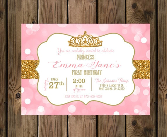 Little Princess Birthday Invitation Pink Gold Glitter – 1st Birthday Princess Invitation