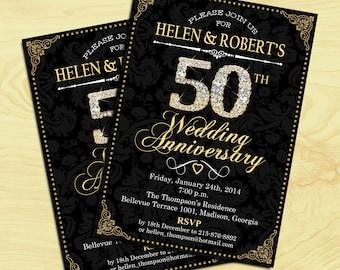 50th Wedding Anniversary / Damask / Diamonds / Gold / Digital Printable Invitation / Customized