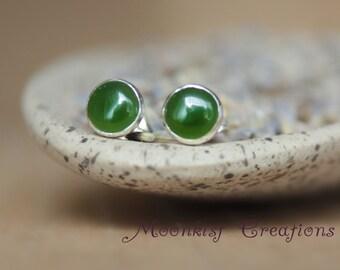 6 mm Green Jade Post Earrings - Green Jade Gemstone Studs - Modern Earrings - Sterling Silver and Green Jade Earrings