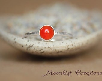 Autumn Orange Carnelian Stacking Ring - Sterling Silver - Carnelian Gemstone - Dainty Promise Ring - Unique Statement Ring