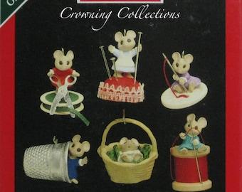 1992 Hallmark Sew Sew Tiny Keepsake Ornament Set Miniature Mice Ed Seale Mouse Sewing Thimble Vintage