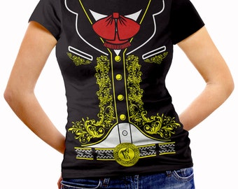 Mexican Mariachi Charro Women's Halloween Costume Fitted T Shirt
