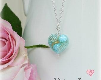 Blue Murano Heart Necklace, Murano Heart, Blue Heart Necklace, Gifts for Her, Murano Glass Necklace, Murano pendant, Murano Glass Heart