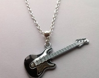 Long Silver Guitar Necklace , Electric Guitar Necklace , Bass Guitar Necklace , Music Necklace , Handmade Jewelry , Handmade Jewellery