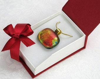 Rainbow Dichroic Glass Pendant On Gold Chain (Item #179)