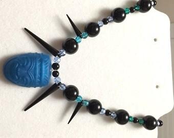 Blue Resin Tiki Necklace