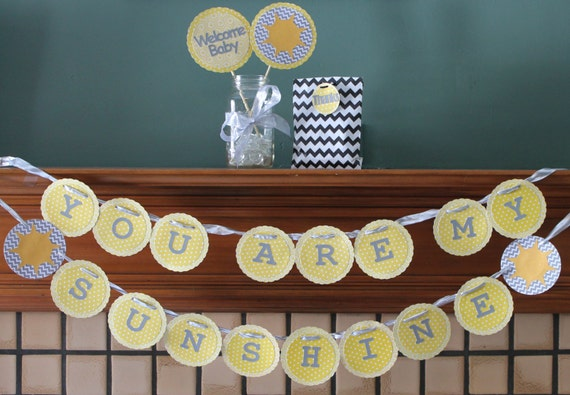 you are my sunshine baby shower decorations yellow and gray chevron