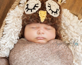 Brown Newborn Owl Hat (Ready to Ship)