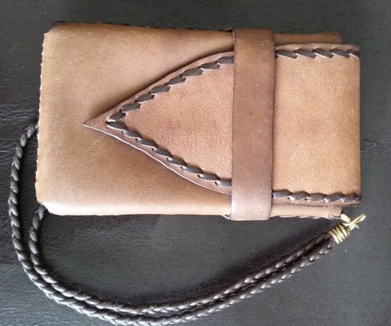 SMALL Leather PHONE CASE. Tan Buff Latigo Leather. Handstitched and Lined. Belt Pouch or Wristlet. Fits iPhone 4S, older phones.