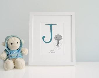 Custom Baby Monogram Wall Art -  Baby Zoo Animal Alphabet - Letter J Jellyfish - Christening Gift - Customised Nursery Decor - New Baby Gift