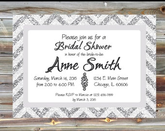 Personalized Silver Glitter Bridal Shower Invitation - Silver Glitter Chevron Invitation - Modern Bridal Shower Invitation - Silver Chevron
