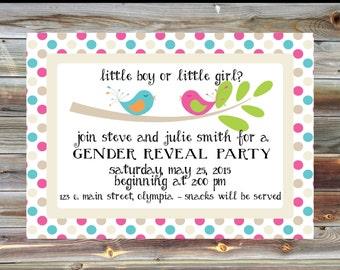 Bird Theme Gender Reveal Party Invitation - Custom Personalized Gender Reveal Invite - Polka Dot Gender Reveal Invitation - Pink and Blue