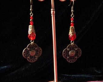 Drops of Crimson Dangle Earrings
