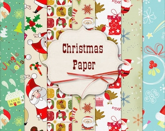 Christmas Digital Paper Backgrounds Scrapbook Santa Xmas Papers Scrapbooking Party Printable Digital Graphics INSTANT DOWNLOAD 300 dpi 12x12