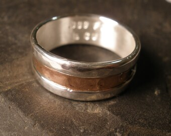Rustic Mens Wedding Band Minimalist Handmade Simple Recycled Eco Organic Silver Copper Artisan Personalized Commitment