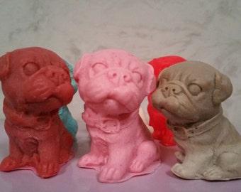 2 Pug Puppy Dog Soap