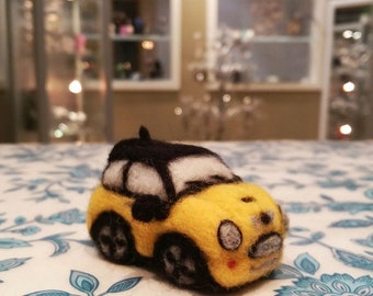 Needle Felted Mini Cooper S, Felted Miniature Mini Cooper, Felt Mini Cooper