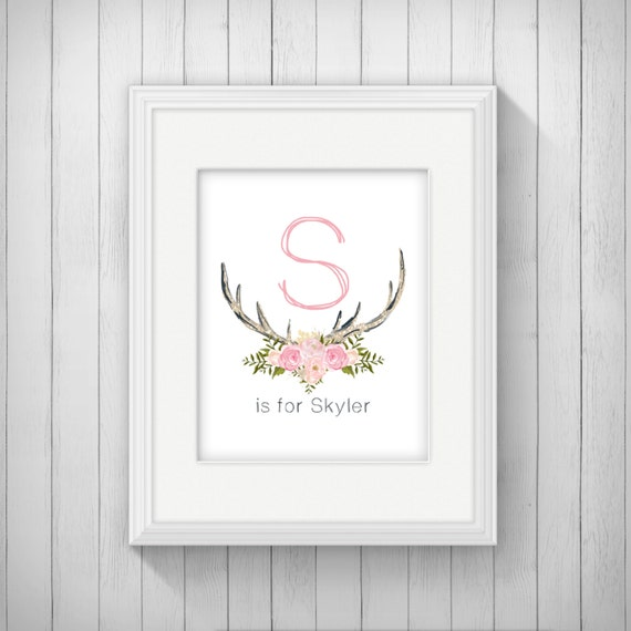 Name In Lights Wall Decor : Antler Nursery Wall Art Printable Baby Name Digital Download, Girl Tribal Woodland Baby Shower ...