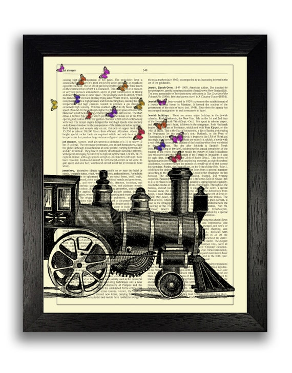 Steam Train & Butterflies Wall Art Vintage Dictionary Decor