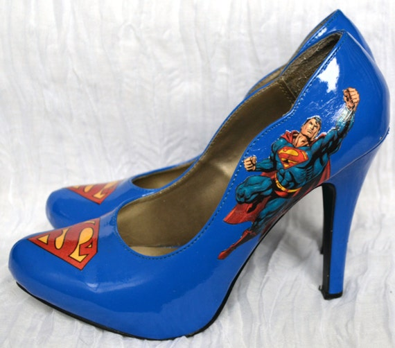 Blue patent leather Superman pumps high heel shoes DC comics